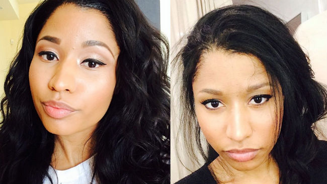 nicki minaj with wigs and natural