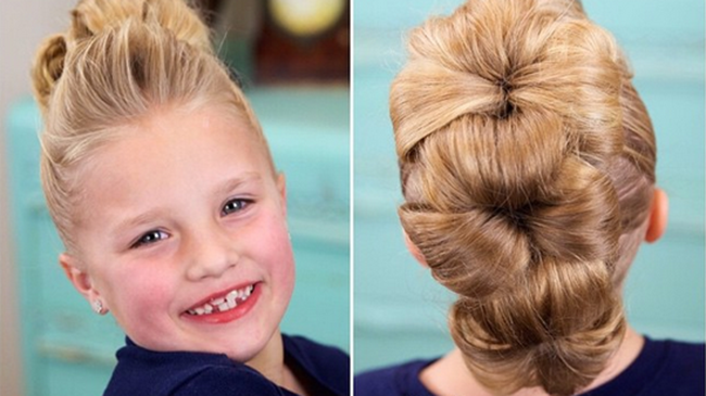 Marvelous The Cutest 3 Minute Flower Bun Hawk Hairstyle Inspiration Daily Dogsangcom