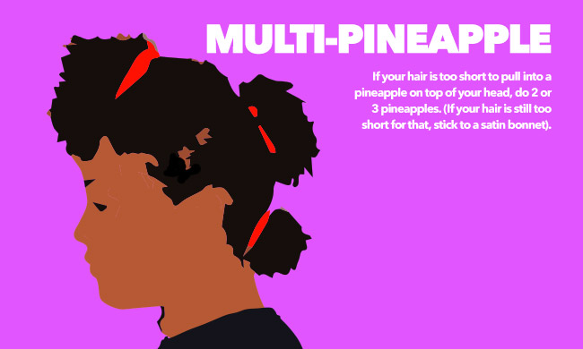 curly woman with multi-pineapple hairstyle