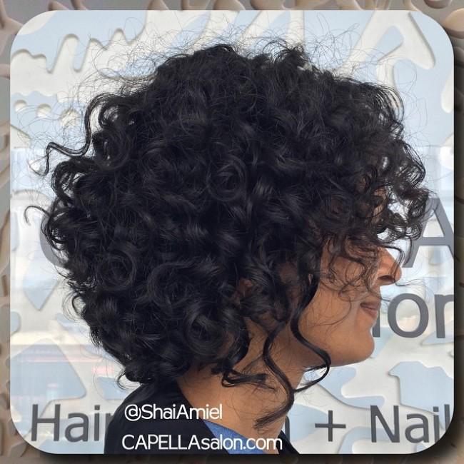 chin length shag curly haircut